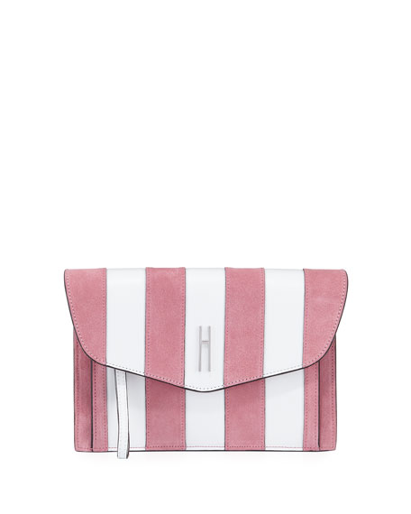 Bobby Striped Clutch Bag, White/Pink