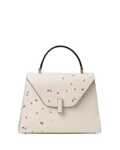 Iside Medium Floral Leather Top-Handle Bag