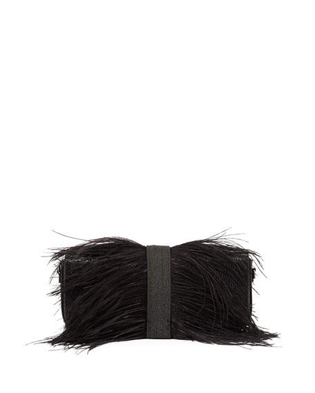 Feather-Embellished Clutch Bag