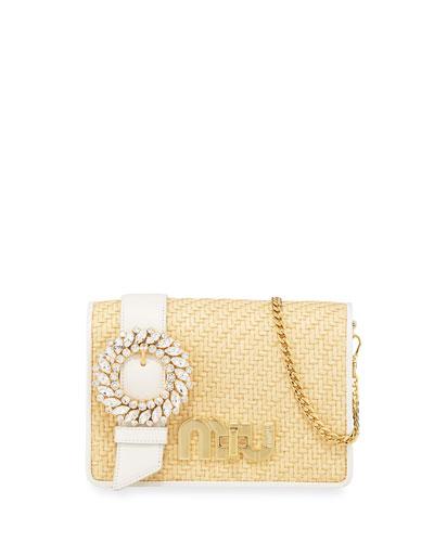 My Miu Lady Straw Crossbody Bag