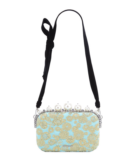 Pearly Brocade Frame Crossbody Bag