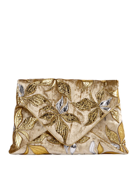 Dries Van Noten Jeweled Metallic Envelope Clutch Bag 58BQ2