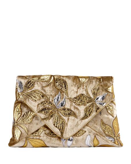 Metallic Leaf-Embroidered Envelope Clutch Bag