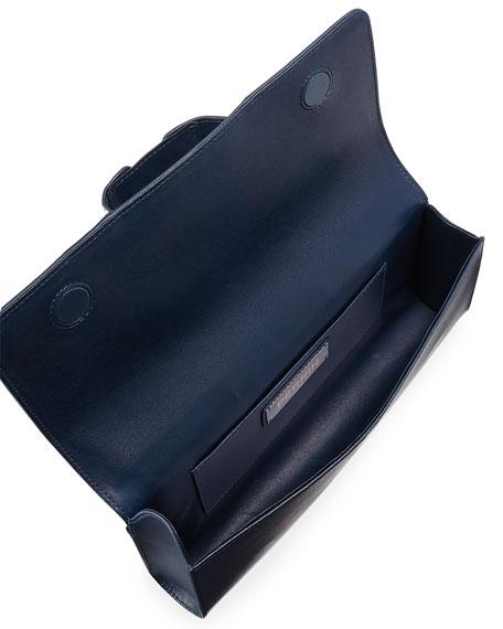 Le Corset Striped Leather Clutch Bag