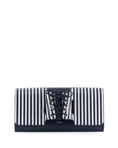 Le Corset Striped Leather Clutch Bag
