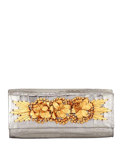 Floral Insert Crocodile Clutch Bag