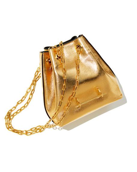 Mini Metallic Leather Bucket Bag