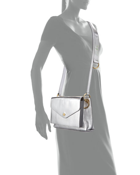 Modular Metallic Leather Pouch Shoulder Bag