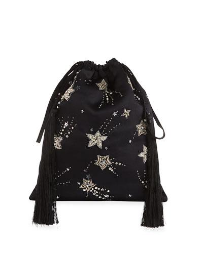 Beaded Star Drawstring Pouch Bag