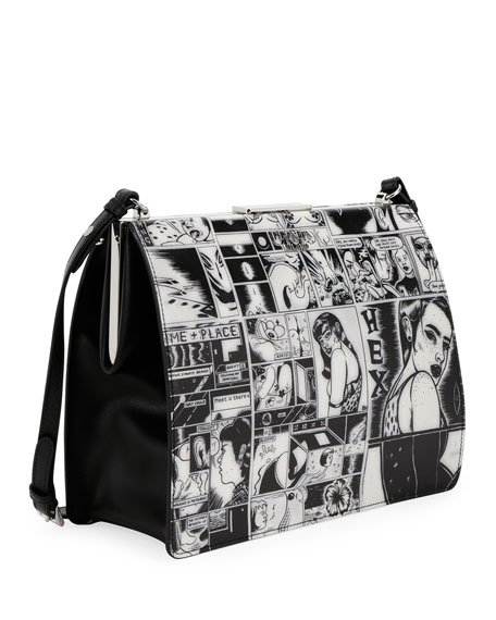 Buy Cheap Pick A Best Fake For Sale Prada Comic print leather shoulder bag Outlet 2018 Sale Sast NbshGwP