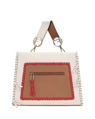 Small Runaway Whipstitch Colorblock Leather Tote Bag