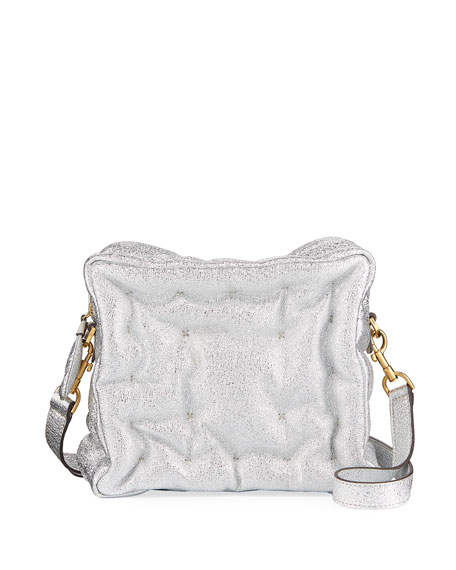 Chubby Cube Crinkled Metallic Leather Crossbody Bag - Metallic, Silver