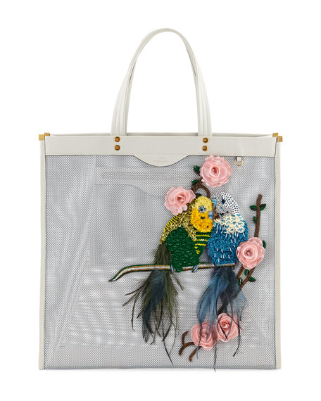 Bird-Embellished Mesh Tote Bag