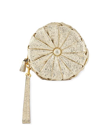 ANYA HINDMARCH Circle Pillow Metallic Leather Clutch - Metallic, Gold