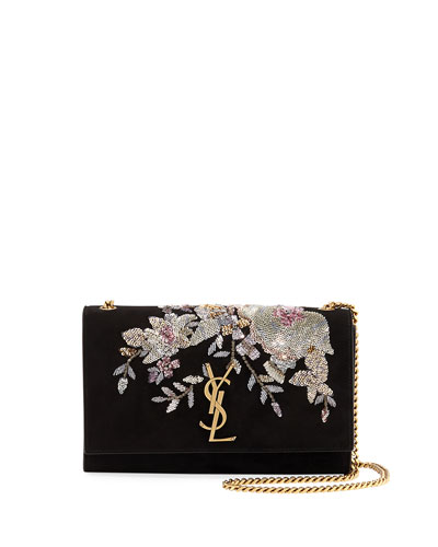 Kate Medium Embroidered Suede Chain Shoulder Bag