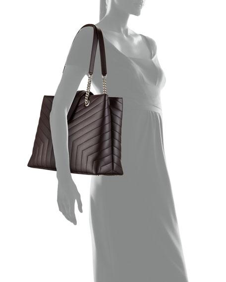 Loulou Monogram YSL Large Quilted Shoulder Tote Bag - Nickel Oxide Hardware