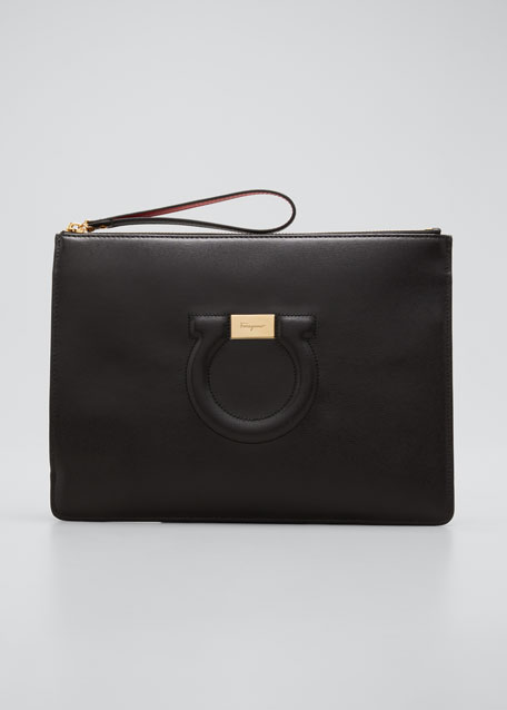 Image 1 of 1: Gancio City Leather Wristlet Pouch Bag