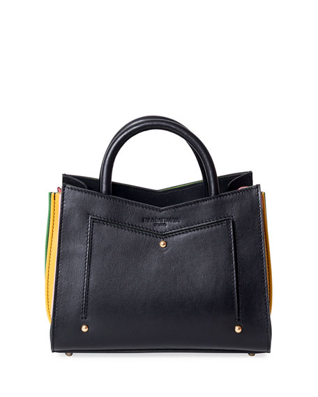 TOY LEATHER TOTE BAG W/ CONTRAST GUSSETS