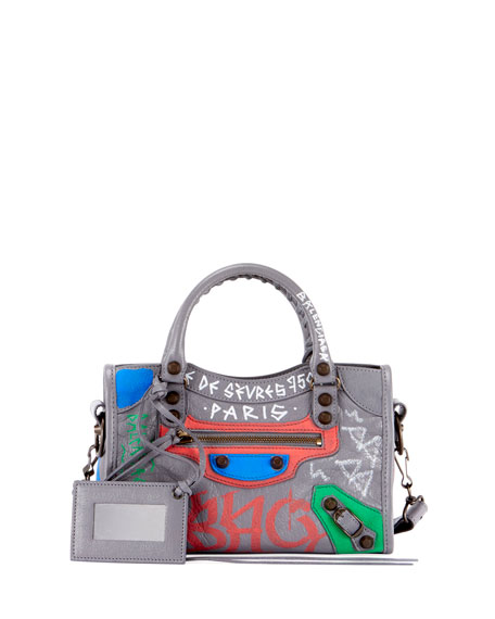 Balenciaga Classic City Mini City Graffiti-Print Tote Bag a4076f572ef9d