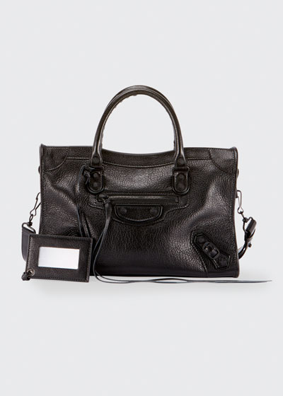 Small Metallic Edge Leather City Bag