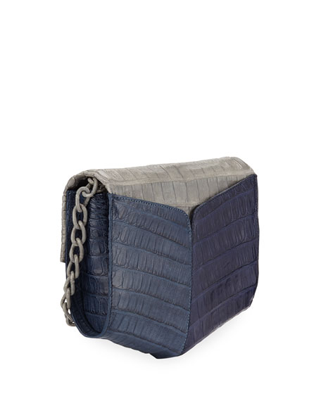 Crocodile Two-Tone Triangle Flap Crossbody Bag
