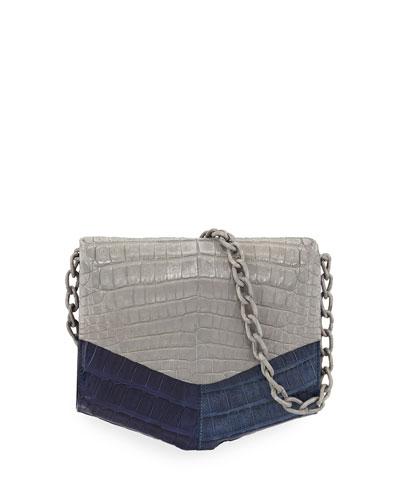 Crocodile Two-Tone Triangle Flap Crossbody Bag