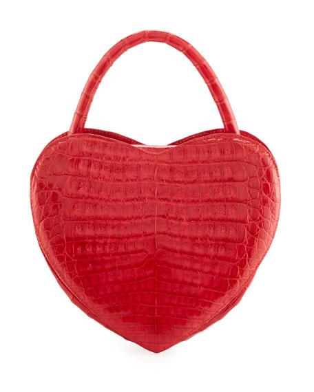 Heart-Shaped Crocodile Crossbody Bag