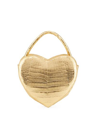 Heart-Shaped Metallic Crocodile Crossbody Bag