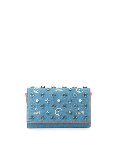 Paloma Loub In The Sky Denim Embellished Clutch Bag