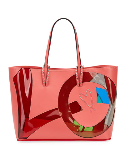 Cabata Small Love Calf Paris Tote Bag, Pink Pattern