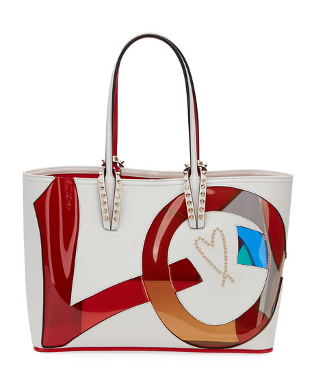 Small Cabata Love Embellished Leather Tote - Brown, White Pattern