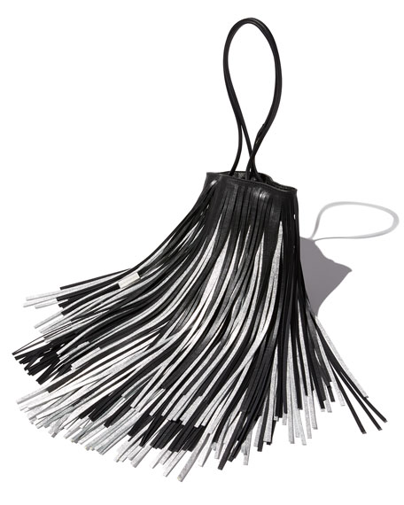 Short Fringe Two-Tone Bucket Bag