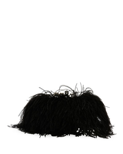 Feather-Embellished Knuckle Clutch Bag