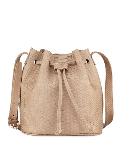 Python Bucket Bag with Suede Lining
