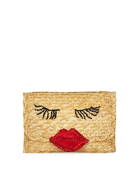 FELIX REY Raffia Lips Clutch Bag in Red/Brown