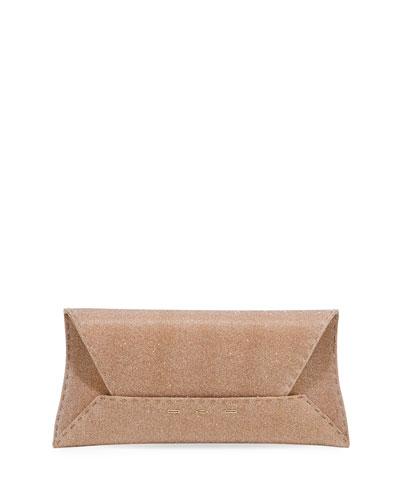 Manila Stretch Topstitch Glitter Fabric Envelope Clutch Bag