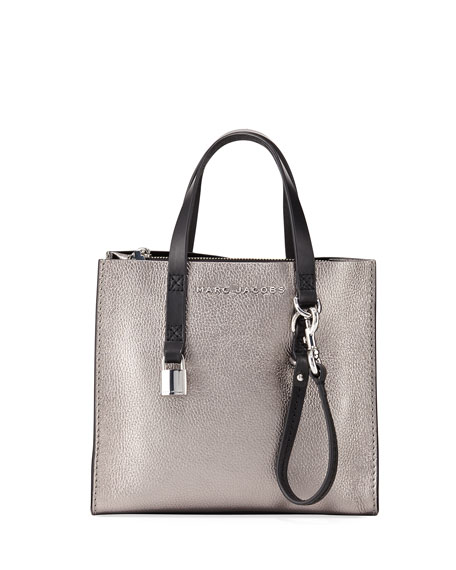 Grind Mini Metallic Leather Shopper Tote Bag in Grey