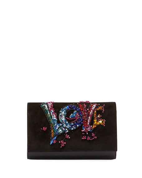 Paloma Love-Embellished Suede Clutch Bag in Female