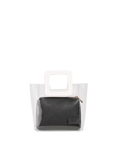 Shirley Colorblock Mini Tote Bag, White/Black