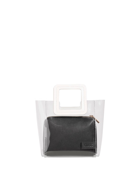 Shirley Mini Colorblock PVC & Leather Tote Bag, White/Black