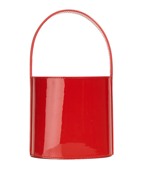 Image 1 of 1: Bissett Patent Leather Top-Handle Bucket Bag - Red