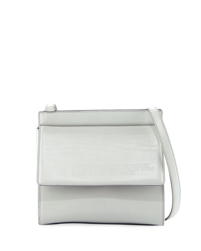 Fold-Over Calf Leather Crossbody Bag
