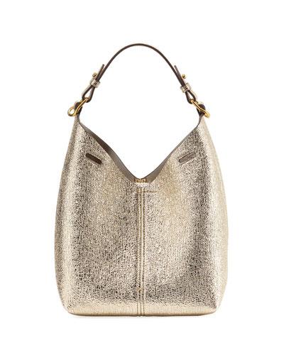 Build A Bag Mini Crinkled Metallic Hobo Bag, Light Gold