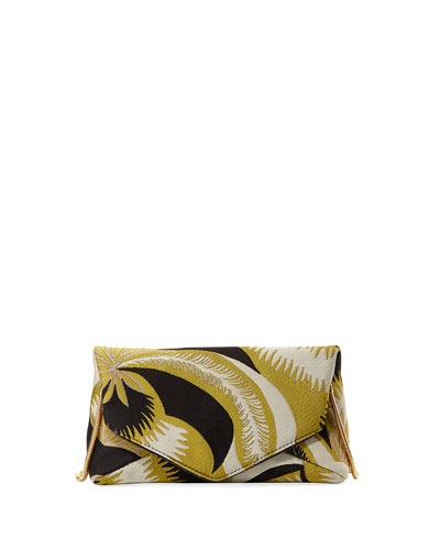 Mini Leaf-Print Envelope Crossbody Bag