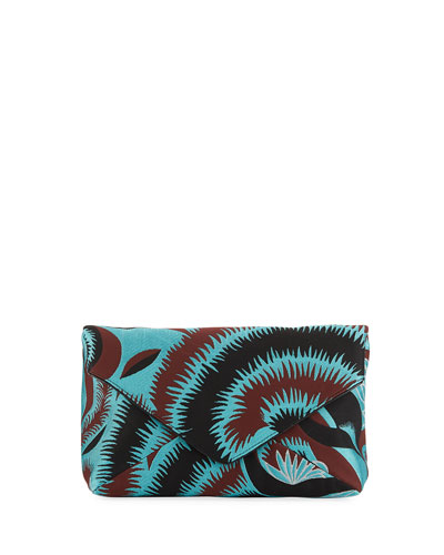 Leaf-Print Envelope Clutch Bag