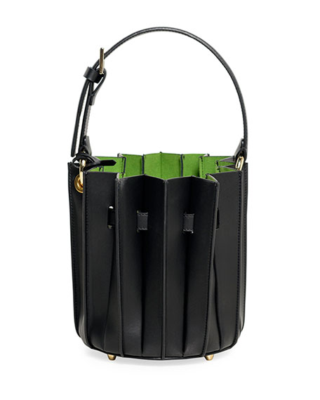 Leather Mini Plissé Bucket Bag