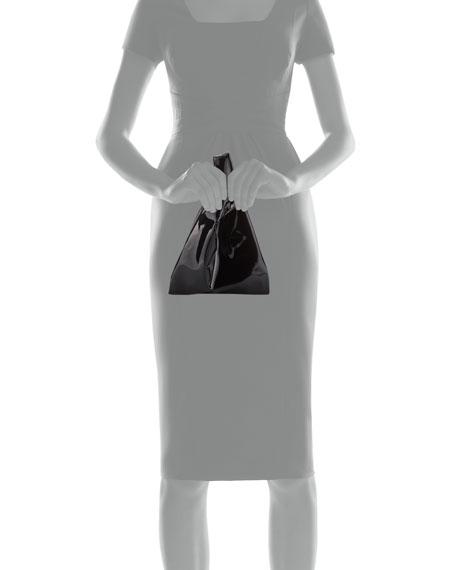 Mini Vegan Patent Shopper Tote Bag