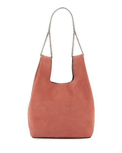 Mini Suede Shopper On A Chain Tote Bag