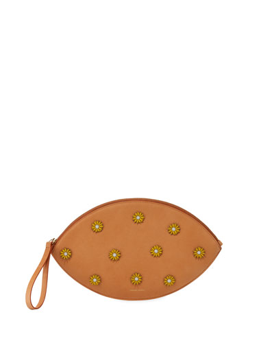 Floral-Embellished Oval Clutch Bag