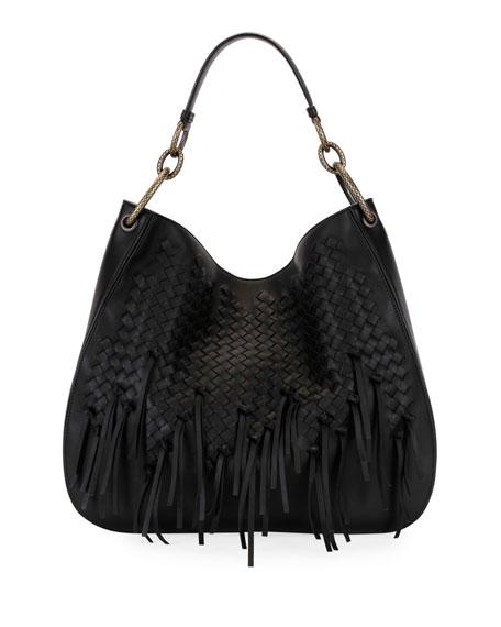 e20e955bd21d Bottega Veneta Large Loop Fringe Intrecciato Leather Hobo Bag